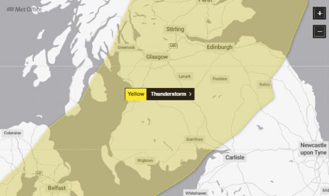 Weather warning for thunderstorms and heavy rain across Ayrshire