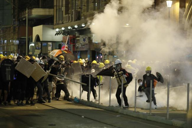 Protesters clash with police in Hong Kong