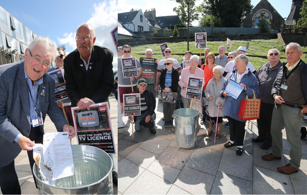 Outraged Irvine pensioners burn TV licence letters in protest