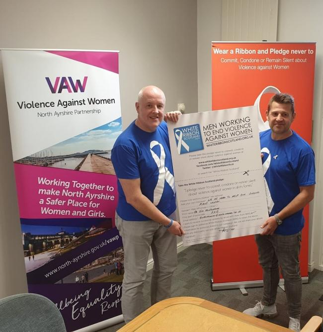 Cllr Montgomerie with Davy Thompson, Campaign Director for White Ribbon Scotland.