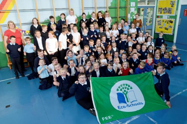 Springside primary school, whole school with Eco flag.