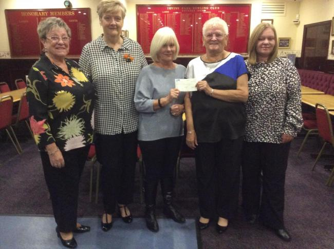 Irvine Park Ladies present cheque