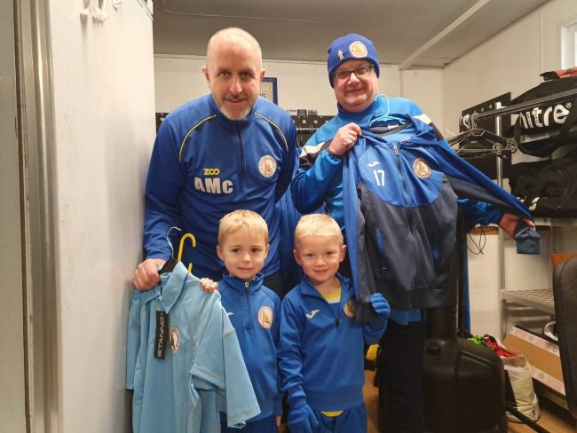 Alan McAlpine, Buffs kit-man Brian Jardine with James and Leo from Kilwinning Rangers 2014s