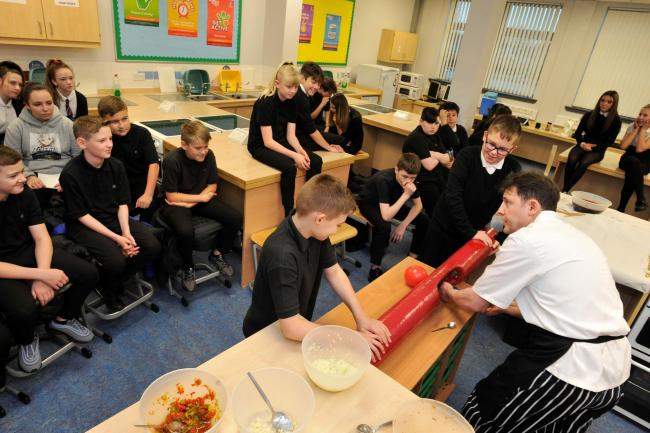 Greenwood academy, Lowdown roadshow, Chef Ross Muir with 2nd year pupils.