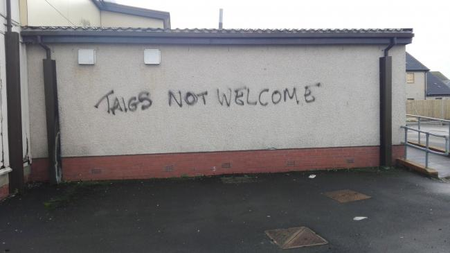 Graffiti spraypainted on community centre. Image: Marcus White.