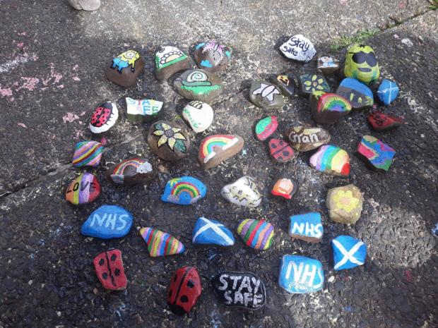 Irvine Times: Andrea and her kids have been busy painting the lockdown rocks.