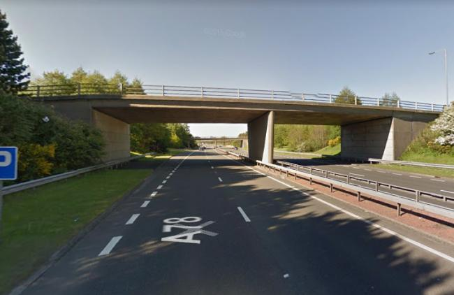 Man, 30, in hospital after fall from A78 interchange bridge