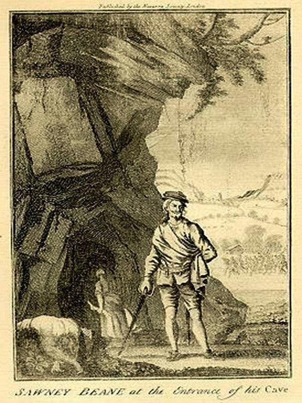 Irvine Times: An illustration of Sawney Bean outside his cave