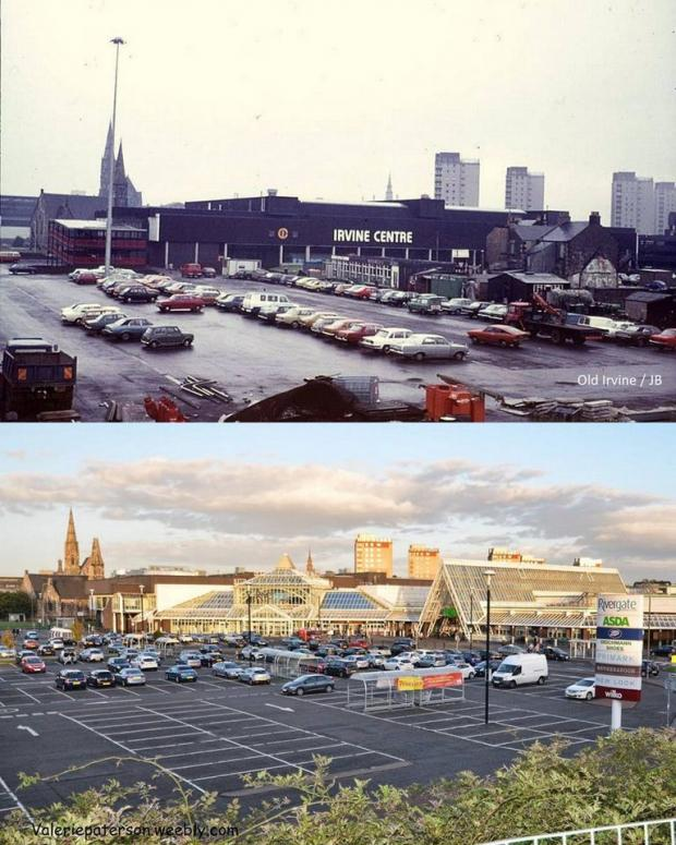 Irvine Times: Photo courtesy Glenn Kerr A 2015 comparison with the Irvine Mall in 1975, when Arnotts first opened.