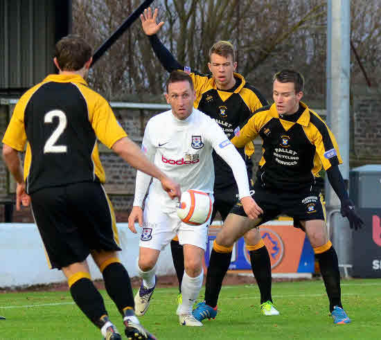 NEW RECRUIT: David Winters (pictured centre in action for Ayr United against East Fife) has joined Kilwinning Rangers.