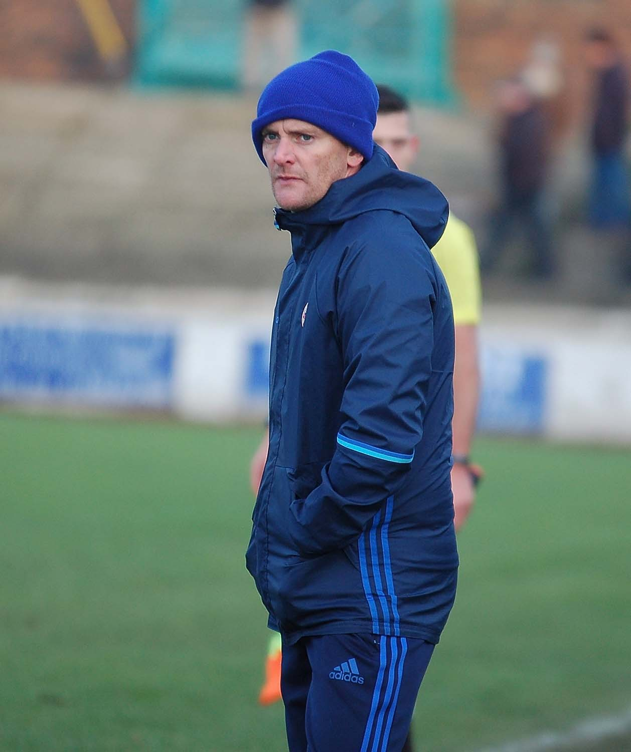 CUP DESPAIR: Buffs boss Chris Stran looks on at Newtown Park as his side suffer defeat in the national competition.