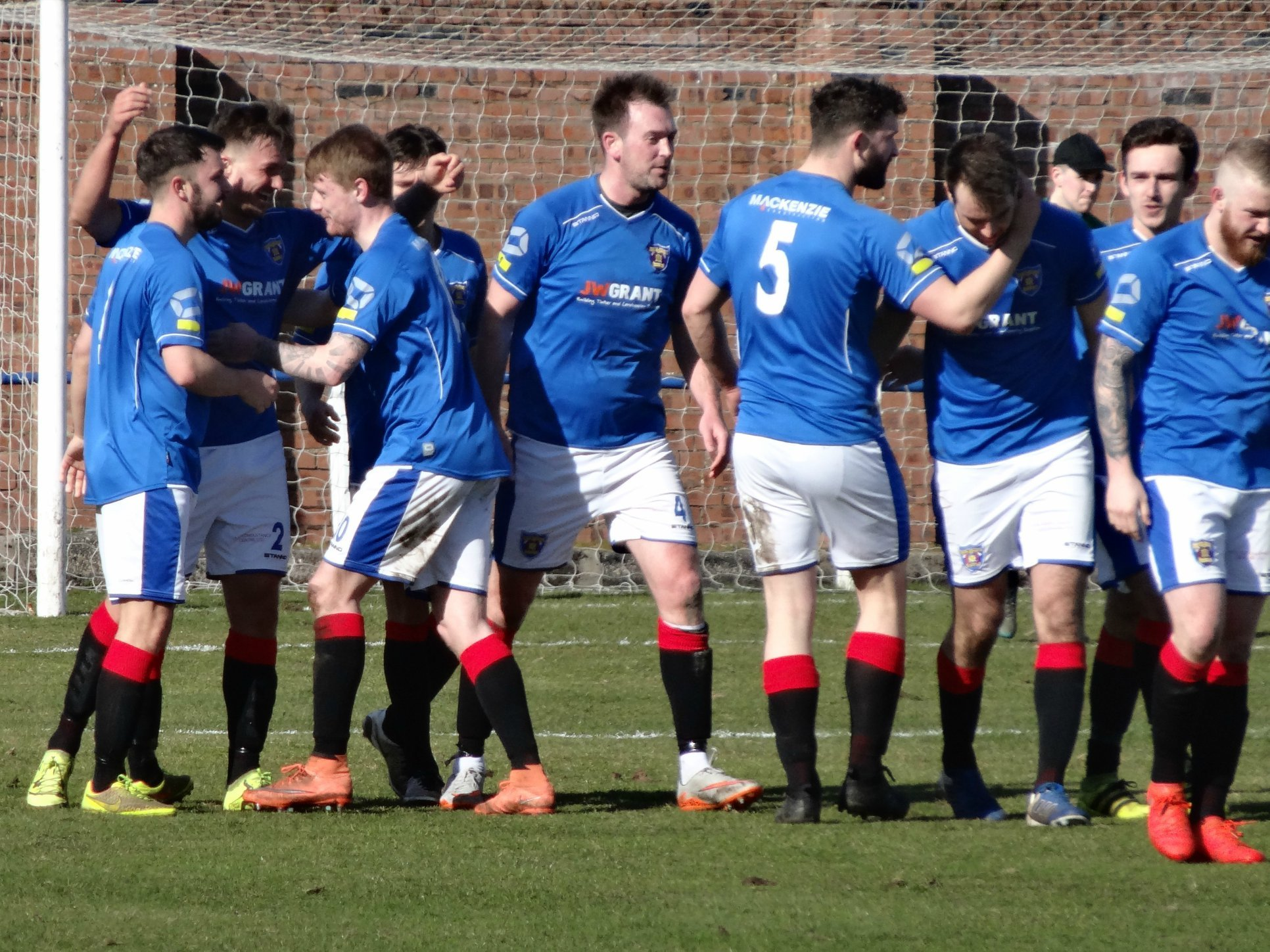 BIG VICTORY: Meadow players celebhate a goal in the 2-0 home win against Cambuslang Rangers. Picture: Gordon McCreath.