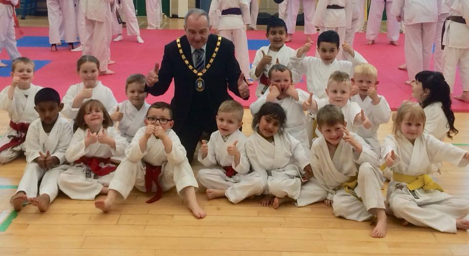 Provost Ian Clarkson meets some of the youngsters from Irvine Takeda Club.