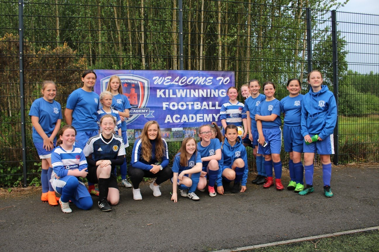 STAR GUEST: Erin Cuthbert is pictured at Kilwinning Football Academy last Wednesday.