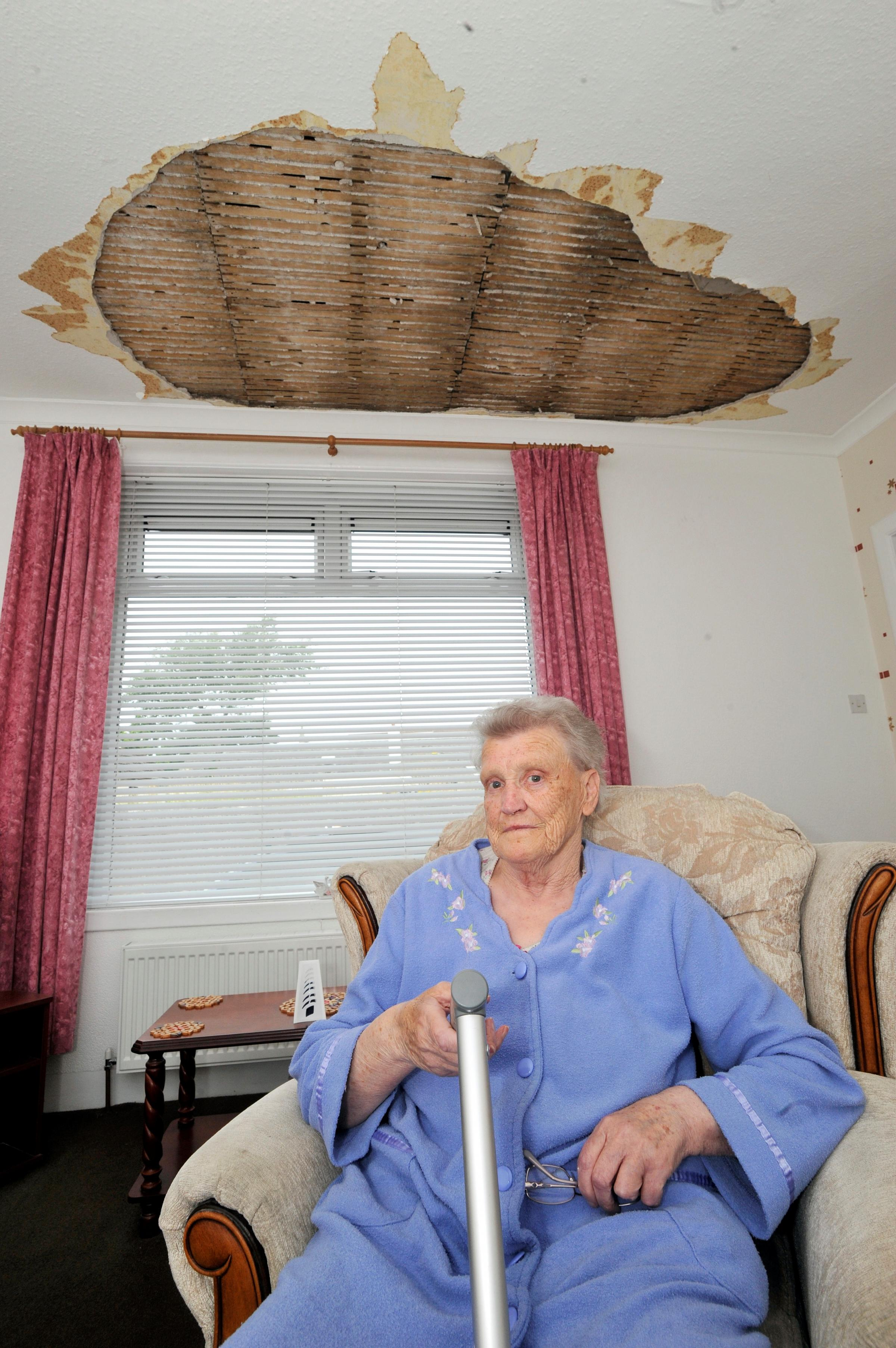 Pensioner's fear over delay to repairs for collapsed ceiling
