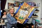 Irvine artist Pauline donates owl paintings to help kids with cancer