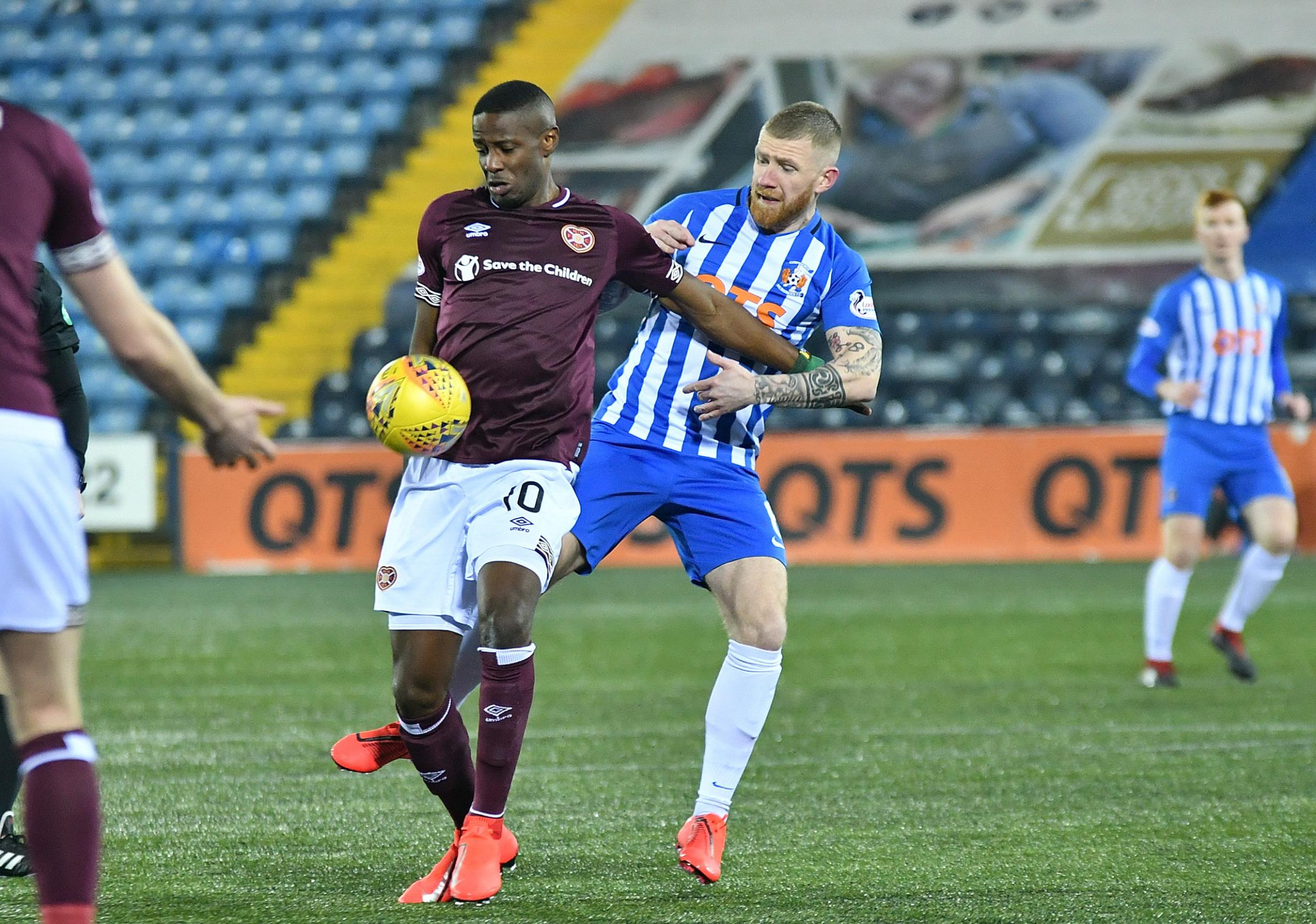 KILLIE POWERLESS: Alan Power loses out in a challenge to Hearts. Picture: Ross Mackenzie.