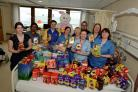 Michael Kirkum easter egg presentation at Crosshouse childrens ward..