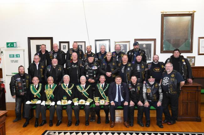 Members during recent visit from Widows' Sons
